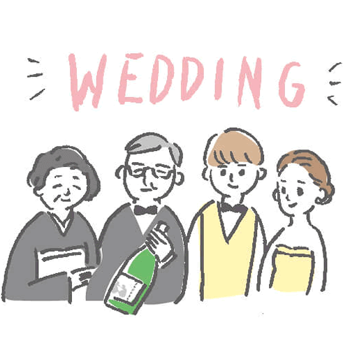 結婚式での両親へのプレゼントのシーンイラスト